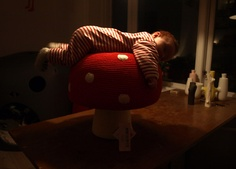 Red and white spotted crochet toadstool. Anne-Claire Petit mushroom pouffe.