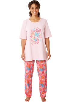 Cotton knit pajamas by Dreams & Co.® | Plus Size Pajamas - Sets | Woman Within