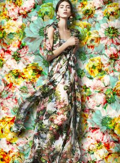A kaleidoscopic bouquet of flowers - Dolce FW2014 Womenswear Collection Flower and Fruit Print Dress Printed Silk Chiffon Gown