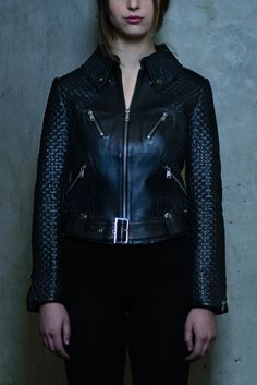 The woven basket weave leather jacket in a classic moto silhouette. Center Zip closure, Waist and chest zip pockets and zip cuffs along the sleeves. Basket Weaving, Hand Weaving, Moto Jacket, Leather Jacket, S Models, Weave, Brooklyn, Zip, Fabric