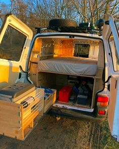 Great use of storage space with this campervan conversion kitchen! I like that the fridge swings out the back letting you cook outside. Perfect for a road trip or camping adventure! Great organization hack and tricks for and building a van. Subaru Justy, T6 California, Converted Vans, Kombi Home, Combi Vw, Camper Van Conversion Diy, Road Trip Adventure, Camping Organization, Kitchen Organization
