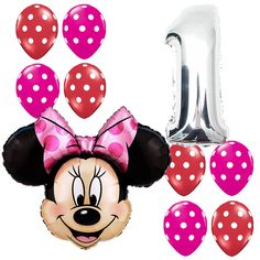 1st Birthday Party Supplies Minnie Mouse First Foil Balloons Polka dots Pink&Red #Anagram #BirthdayChild