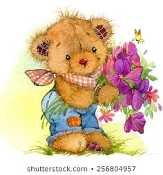 Find Teddy bear and spring flowers background for kid congratulation cards. watercolor Stock Images in HD and millions of other royalty-free stock photos, illustrations, and vectors in the Shutterstock collection. Tatty Teddy, Cute Animal Illustration, Watercolor Illustration, Teddy Bear Drawing, Teddy Bear Images, Spring Animals, Kids Watercolor, Cute Teddy Bears, Bear Art