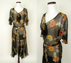 Reserved Gorgeous 1920's Silk Chiffon Floral Print Dress with Art Deco Styling Hollywood Starlet Downton Abby Great Gatsby Size-Small