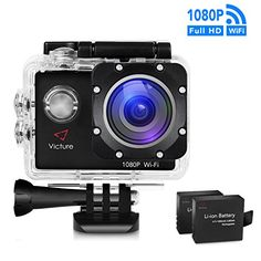 From 39.59:Victure Wifi Sports Action Camera 14mp Full Hd 1080p Waterproof Motorcycle Helmet Cams 30m Underwater Diving Camcorder With 2 Inch Lcd Screen 170 Wide Angle Lens And 2 Pcs Rechargeable Batteries
