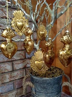 Flaming Heart Milagro Mercury Glass Ornaments Set of Four Gold