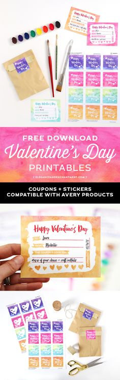 Make Valentine's Day Gift giving easy with these free printables in a pretty watercolor style. Includes printable Valentine's Day coupons + two types of stickers in four different colors. Compatible with Avery Products 22806 and 8387 for easy printing! Designs from Elegance and Enchantment.