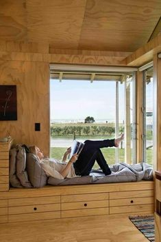 A home may not always be complete without a bay window seat. Whether it is a house or an apartment, you can have at least one. Make sure that these bay window seats are suitable for the whole conce… Interior Architecture, Interior And Exterior, Interior Design, Sustainable Architecture, Window Benches, Window Seats, Wooden House, Wooden Room, Window Design