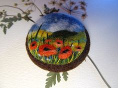 Needle felted brooch with embroidery Wool felt by FeltAccessories