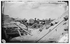 Morris Island, South Carolina. Naval Battery. Two 80-pounder Whitworths. Breaching battery against Fort Sumpter.  July or August 1863
