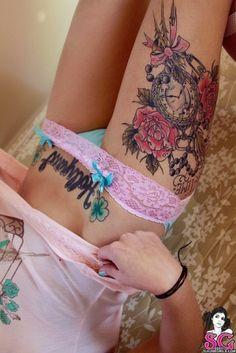 flower thigh tattoo - Google Search