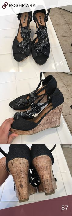 Women's Wedges Jean material. Straps around ankles. Soda Shoes Wedges
