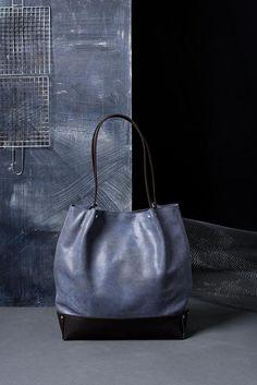 1d0b8c0b6157a Two Tones Leather Tote Shoulder Bag blue and brown tote Handgefertigte  Ledertaschen