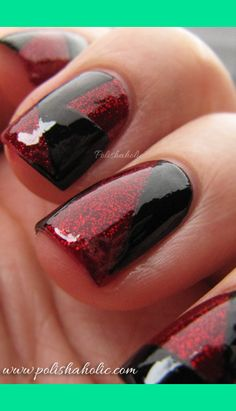 Black and red glitter tape manicure   Polishaholicriag G.'s (PolishaholicRiaG) Photo   Beautylish