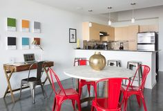 Bright, fun dining space and a calming work station make this spot feel more like home.