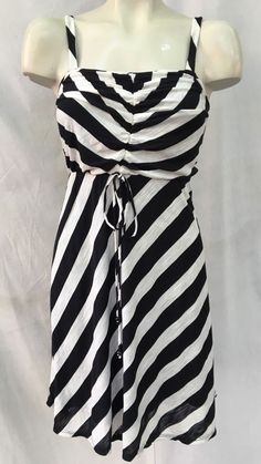 88463ef44ec Trina Turk Black White Striped Criss Cross Draped Blouson Dress Sz 2 ...