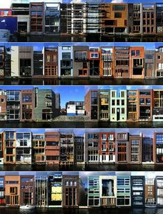 Borneo Sporenburg, Amsterdam, Netherlands  Regenerated waterfront.  An example of high density housing on the waterfront governed by strict design codes.