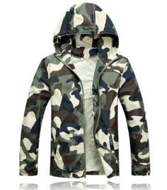 Men's Fashion Camouflage Jacket Summer Tide Male Hooded Thin Sunscreen Coat