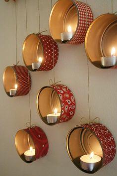 bastelideen zu weihnachten geschenkpapier dosen teelichter