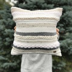 Your place to buy and sell all things handmade : Handwoven pillow / Striped throw pillow / Luxury woven decorative pillow / Ecru gray pillow / Scandinavian pillow / Accent bedroom cushion Tapestry Weaving, Loom Weaving, Hand Weaving, Grey Pillows, Accent Pillows, Throw Pillows, Decor Pillows, Scandinavian Pillows, Bedroom Cushions