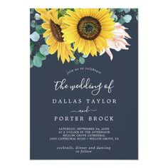 Rustic Sunflower Eucalyptus   Navy The Wedding Of Invite with blush pink flowers, yellow sunflower and hunter green eucalyptus greenery in watercolor on a dark navy blue background with an elegant bohemian country feel. Click to customize with your personalized details today. Housewarming Party Invitations, Rehearsal Dinner Invitations, Rustic Invitations, Invites, Wedding Rehearsal, Lingerie Shower Invitations, Bridal Lingerie Shower, Elopement Reception, Reception Card