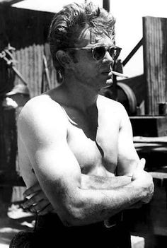 A Scruffy James Dean, on the set of 'Giant'.