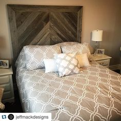 Absolutely in  with the work of @jeffmackdesigns gorgeous timber bed head. Great inspiration for all those looking to give their bedroom a rustic industrial look!  #motifandco  #rustic #industrial #bedroom #home #house #homedecor #interiordesign #interior #instahome #instadaily #instastyle #style #diy #project #renovation #inspo #inspiration #creative #blogger #living #ideas #affordable #decorations #motif #timber #stylist #repost #love #bed by motifandco