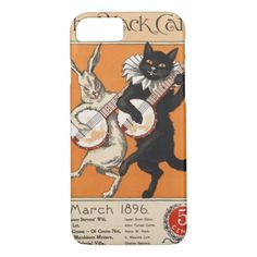 Black cat playing Banjo Unknown artist iPhone 8/7 Case - love gifts cyo personalize diy