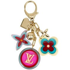 Preowned Louis Vuitton Pop Color Keychain Bag Charm featuring polyvore, women's fashion, accessories, beige, other, louis vuitton, fob key chain, monogram key chain and louis vuitton key chain