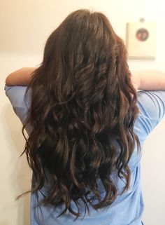 """Babe tape-in extensions - extensions - 18"""" extensions - dark brunette extensions - extensions on dark hair - human hair extensions @hairbycourtb"""