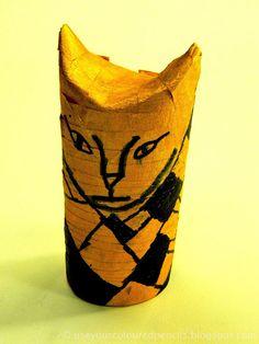 Cat Mummies using toilet paper rolls and masking tape.