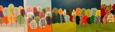 Jämäpapereista taidetta. Kuva:Ida Helander-Tommila Alakoulun aarreaitta FB A3 paperille liimataan taivaspala ja maapala. Leikataan pieniä erivärisiä paloja, joihin tussilla oksat. Liimataan ylärivin puut ensin ja lopuksi alarivin puille vielä tussilla rungot. Itse saivat valita värit, muodot ja taiteilla oksat, sekä sommitella