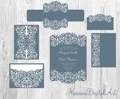 Laser cut Wedding Invitation Templates. Gate Fold Card / Envelope / Belly Band / RSVP / Place Card. Set SVG files, Silhouette Cameo, Cricut