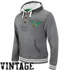 Mitchell & Ness Philadelphia Eagles Vintage Primary Logo Pullover Hoodie - Gray