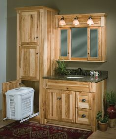 """Woodpro Cabinetry: Heirloom Collection.  42"""" vanity ensemble with matching Linen Cabinet with roll-out hamper. Also note matching mirrored cabinet.  Great rustic look in Hickory wood with Natural color.  Made in the Ozarks - Cabool, MO."""