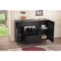 Furniture Of America Carrera Contemporary Black Dining Buffet Storage Server