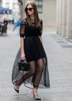 Street Style Guide To Wearing Black This Summer—Sheer shoulder maxi dress Source by arafaelabani sheer dress Cute Dresses, Short Dresses, Dress Outfits, Fashion Dresses, Diy Vetement, Transparent Dress, Sheer Dress, Wearing Black, Fashion Pictures