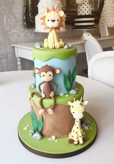A sneak peak at our new collection of Kids Cakes! Starting with our adorable Woodland Animals ❤️️ Safari Birthday Cakes, Jungle Theme Cakes, Boys First Birthday Cake, Safari Cakes, Fondant Figures, Fondant Cakes, Zoo Cake, Balloon Cake, Animal Cakes
