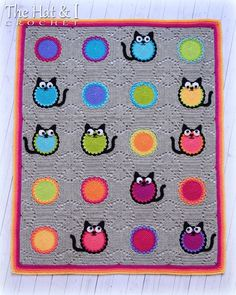 CROCHET PATTERN Cat Lover Blanket a colorful cat by TheHatandI