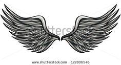 Silver wings vector illustration.