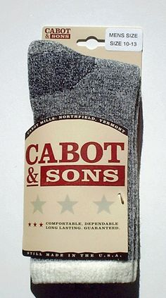 HIKE MUCH? - 50% OFF - Only $9.00 - 1 Pair MENS Cabot & Sons Merino Wool Hiking Socks, BLACK ASH 10-13