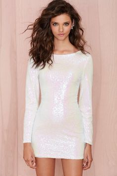 nasty gal. glamorous let it snow sequin dress. #fashion