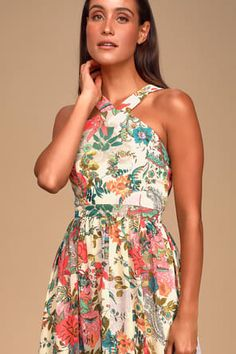 The Lilja Cream Floral Print Maxi Dress is a real world wonderland! A whimsical floral print maxi dress with a halter neckline. Floral Print Maxi Dress, Maxi Wrap Dress, Dress Lace, Cute Dresses, Beautiful Dresses, Women's Dresses, Prom Outfits, Summer Outfits, Vacation Dresses