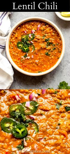 Meatless lentil chili with simple ingredients and flavorful spices. It's wholesome, filling, and makes one easy weeknight meal. Veggie Soup Recipes, Indian Food Recipes, Ethnic Recipes, Easy Weeknight Meals, Pinterest Recipes, Recipe Using, Comfort Foods, Healthy Cooking, Lentils