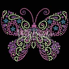 Pink butterfly rhinestone designs for custom shirts - Topmotif Butterfly Mandala, Rainbow Butterfly, Mandala Dots, Pink Butterfly, Dot Art Painting, Mandala Painting, Stone Painting, Rhinestone Art, Butterfly Wallpaper