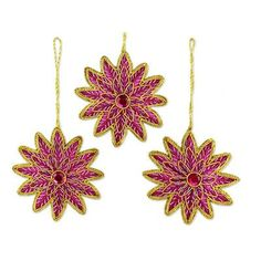 Holiday Decor : NOVICA, the Impact Marketplace, features a unique Holiday Decor collection handcrafted by talented artisans worldwide. Embroidered Christmas Ornaments, Beaded Ornaments, Pink Stars, Christmas Fun, Pink And Gold, Artisan, Merry, Pendant, Holiday Decor