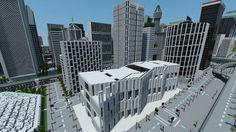 Minecraft Skyscraper, Minecraft City Buildings, Minecraft Mansion, Minecraft Structures, Minecraft House Designs, Minecraft Architecture, Minecraft Creations, Minecraft Houses, Minecraft Ideas