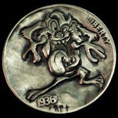 Hobo Nickel 1936 Tasmanian Devil Cartoon Hand Engraved Art by Ronald Proulx Tasmanian Devil Cartoon, Hobo Nickel, Metal Clay Jewelry, Metal Engraving, Coins, Carving, Miscellaneous Things, Looney Tunes, Metals