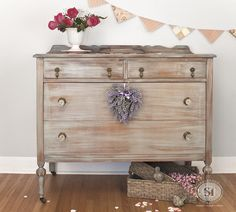 Romantic Vintage Dresser Makeover! I'm loving everything about this piece! | Salvaged Inspirations