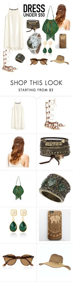 """Summer Ethno"" by alinabathory ❤ liked on Polyvore featuring H&M, Ancient Greek Sandals, BKE, Georgina Skalidi, Topshop, White House Black Market, Ray-Ban and Billabong"